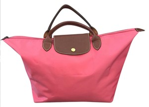 Longchamp Nylon Tote in cotton candy pink