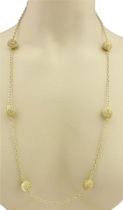 Modern Vintage Eight Filigree Ball Station Long Chain Necklace 30