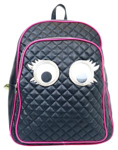 Betsey Johnson Googly Eye Faux Leather Gold Hardware Backpack