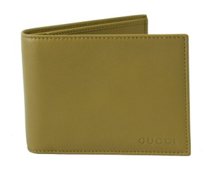 Gucci GUCCI 278596 Men's Leather Bifold Wallet, Light Olive