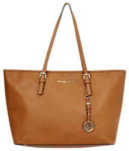 Michael Kors Luggage Safffiano Gold Hardware Tote in Brown