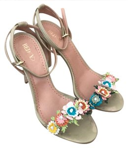 RED Valentino taupe with multicolor flowers Sandals