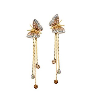 Other DF100 Gorgeous Swarovski Amber Crystal Butterfly Waterfall Drop Earrings $87