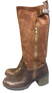 Lucky Brand Leather Zipper Buckle Knee High Brown Boots