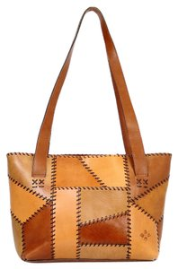 Patricia Nash Designs Leather Double Zipper Patchwork Antique Brass Tote in Brown