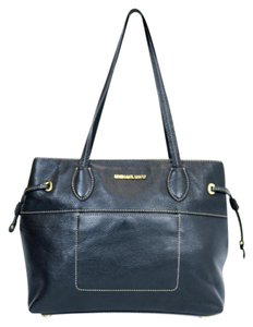 Michael Kors Leather Drawstring Gold Hardware Contrast Stitching Tote in Black