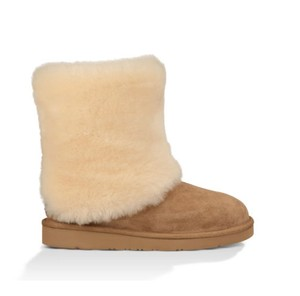 UGG Australia Shearling Lined Suede Shearling Cuff Chestnut Boots