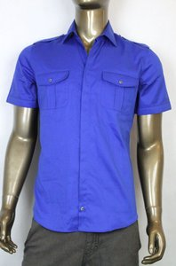 Gucci Mens Short Sleeve Skinny Shirt W/web Detail Blue 42/16.5 352995 4202