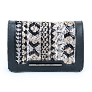 French Connection Faux Leather Sequins Flap Black Clutch