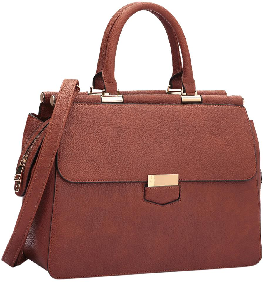 1f5874f78 Briefcase Satchel with Expandable Side Zipper Brown Faux Leather ...