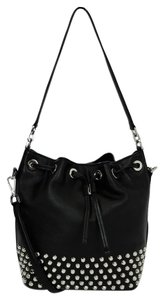 Michael Kors Studded Leather Silver Hardware Drawstring Hobo Bag