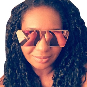 Other Rose gold square geo cat eye mirror sunglasses shades