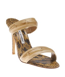 Manolo Blahnik Open Toe Leather Tan Sandals