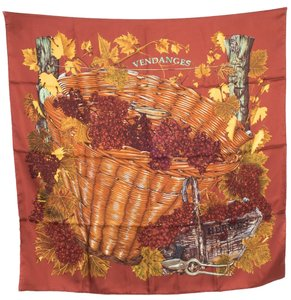 Hermès Hermes Dusty Red 'Vendanges' Square Silk Scarf