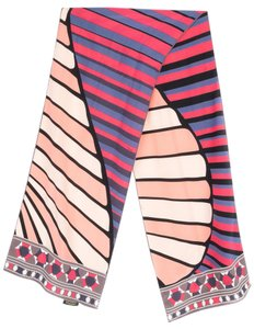 Emilio Pucci Emilio Pucci pink, navy, and black abstract pattern silk scarf