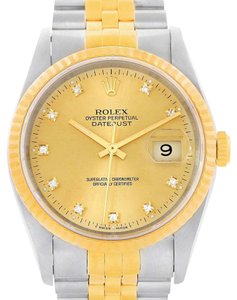 Rolex Rolex Datejust Mens Steel 18K Yellow Gold Diamond Watch 16013