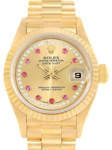 Rolex Rolex President Yellow Gold String Diamond Rubies Ladies Watch 69158
