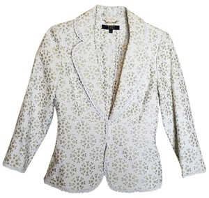 Alex Marie Spring Floral White and Golden Tan Blazer