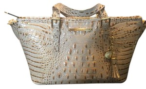 Brahmin Teal Mini Asher Leather Croco Satchel in Beige