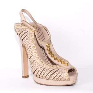 Alexander McQueen Slingback Stud Peep Toe Leather pink and gold Sandals