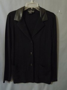 Carole Little Leather Collar black Blazer