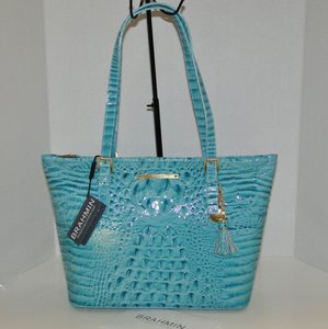 Brahmin Asher Leather Medium Tassels Tote in Glass Glossy