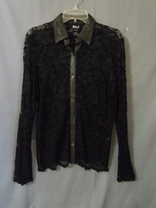 B&J Leather Lace Top black