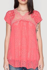 Johnny Was Crochet Eyelet Boho Vintage Tunic