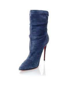 Christian Louboutin Aqua Suede Ruched Blue Boots