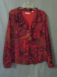 Coldwater Creek Ruffle Top pink orange red multi