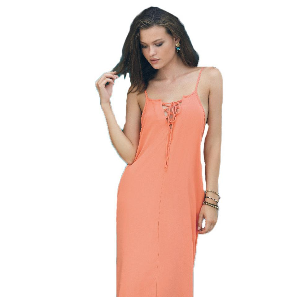 b7d1f5354a Elan Coral Spaghetti Strap Balloon Bottom with Lace Up Front Casual Maxi  Dress