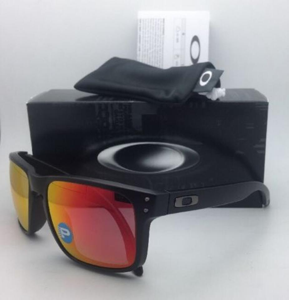 65cbf15f3f6 Oakley Polarized Oakley Sunglasses HOLBROOK OO9102-51 Black w Ruby Iridium  Image 8. 123456789