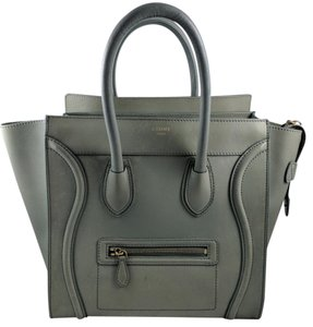 Céline Mini Green Luggage Military Green Tote in Green/Grey