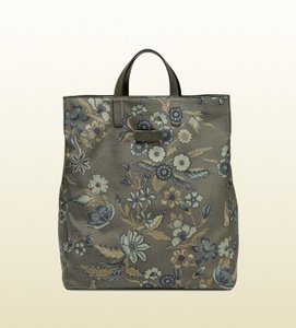 Gucci Unisex Floral Fabric Top Tote in Green