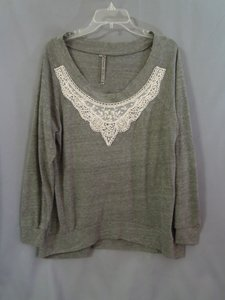 Awake Couture Lace Top gray and ivory