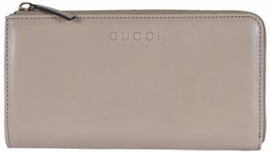 Gucci New Gucci Women's 332747 Smooth Cream Calf Leather Zip Around Wallet