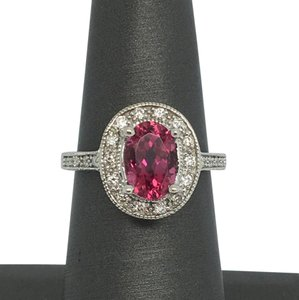 Other 18K White Gold Natural Diamond and Pink Tourmaline Ring