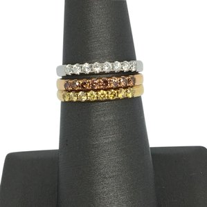 Other 18K Tri-Color Gold with Multi-Color Diamonds Band/ Stackable Rings