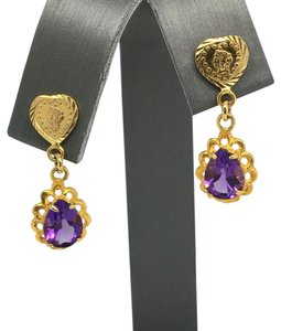 Other 18K Yellow Gold Pear Shape Natural Amethyst Dangling Earrings