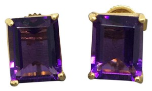 Other 14K Yellow Gold Emerald Cut Natural Amethyst Stud Earrings