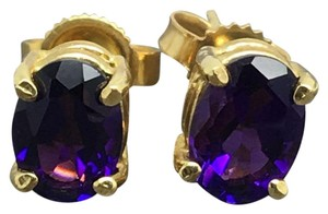 Other 14K Yellow Gold Oval Shape Natural Amethyst Stud Earrings