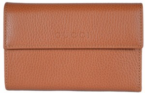 Gucci New Gucci Women's 346057 Saffron Tan Leather French Wallet W/Coin