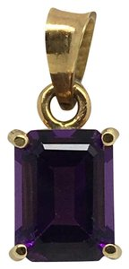 Other 14K Yellow Gold Emerald Cut Natural Amethyst Pendant