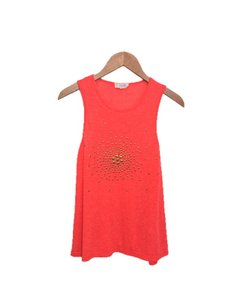 Lucca Couture Sleeveless Linen Cotton Studded Summer Top CORAL