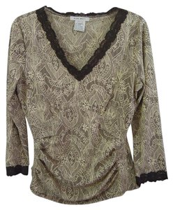 Nine West V-neck Lace Lace Trim Top brown