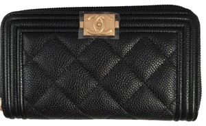 Chanel BN Chanel Boy Zip Around Wallet in Black Caviar