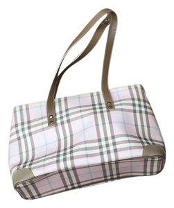 Burberry Tote in Pink plaid with tan leather trim