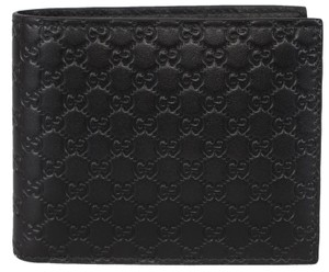 Gucci NEW Gucci Men's 260987 Black Leather MICRO GG Guccissima Bifold Wallet