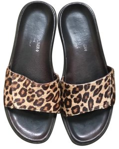Donald J. Pliner Calf Hair Animal Print Black and Tan Sandals
