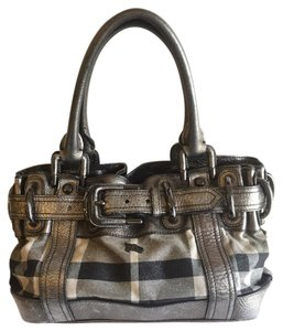 Burberry London Leather Canvas Shoulder Bag